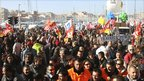 Workers gather for a demonstration on the Old Port of Marseille on 19 October