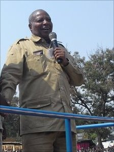Wilbroad Slaa of the Chadema party on the campaign trail