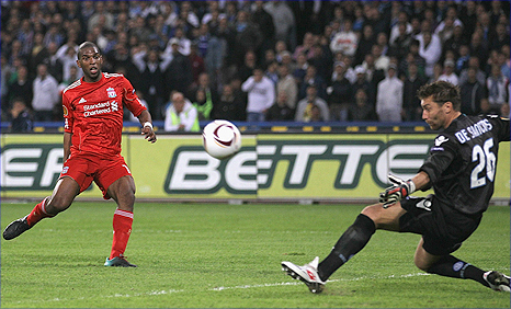 Ryan Babel has a chance saved for Liverpool against Napoli