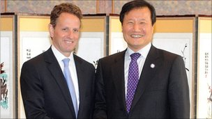 US Treasury Secretary Timothy Geither and South Korean Finance Minister Yoon Jeung-hyun