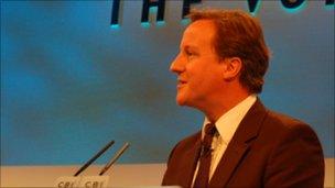 David Cameron at the CBI conference in 2009