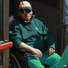 Miner Jose Ojeda arrives at a hospital in Copiapo, Chile, after being rescued