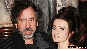 Helena Bonham Carter (r) with partner Tim Burton