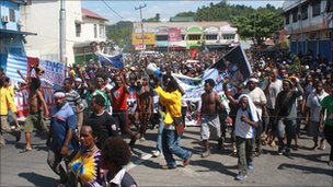 Protesters in Papua demand a referendum on self-determination on 8 July 2010