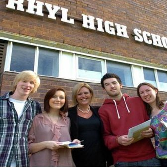Rhyl high head teacher Claire Armitstead with A-level students