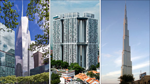 From left to right: The Bank of America Tower in New York, the Pinnacle @ Duxton in Singapore and the Burj Khalifa in Dubai