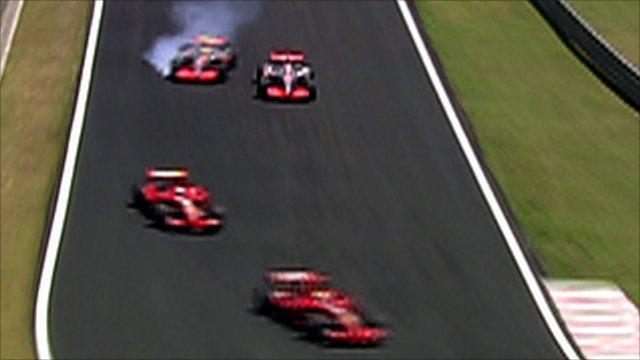 Lewis Hamilton, Fernando Alonso, Kimi Raikkonen and Felipe Massa
