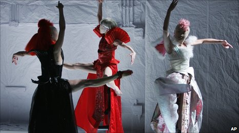 Dancers from the Meimage Dance troupe perform Taiwanese choreographer's Ho Hsiao-Mei's new work in Taipei
