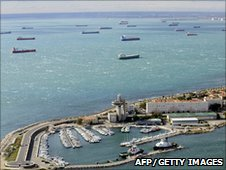 Oil tankers queuing outside Marseille port, France