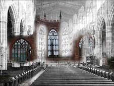 St Michaels Church before and after the Blitz