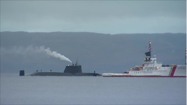 HMS Astute with a sea vessel