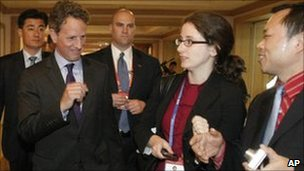 US Treasury Secretary Timothy Geithner (second left) leaves after a press conference in Gyeongji