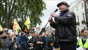 RMT Union general secretary Bob Crow addressing protesters