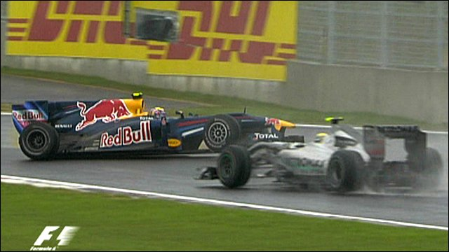 Mark Webber spins at the Korean Grand Prix