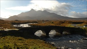 The Cuillin Hills mountain range on Skye