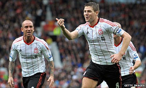 Liverpool captain Steven Gerrard celebrates after scoring a goal
