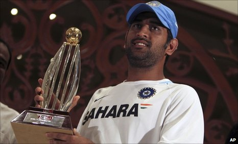 India captain Mahendra Dhoni with the one-day series trophy