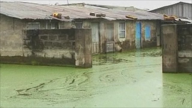 Green flood water surrounds buildings