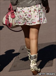 Woman in a miniskirt