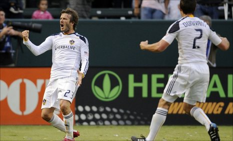 David Beckham celebrates his equaliser against FC Dallas