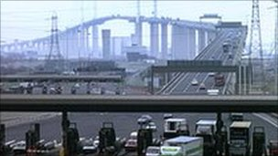The QE2 Thames bridge Dartford River Crossing