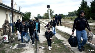Illegal migrants at Nea Vissa station, northeastern Greece, 4 Oct 10