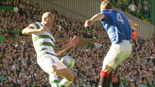 Celtic defender Daniel Majstorovic (left) and Rangers' Kirk Broadfoot