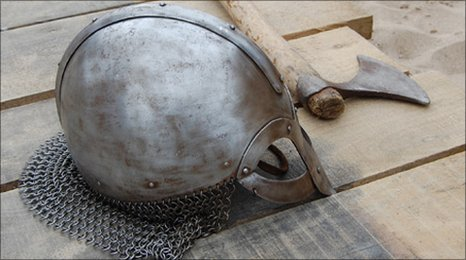 Viking helmet and axe