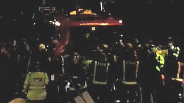 YouTube footage shows protesters surrounding a fire engine on Southwark Bridge Road
