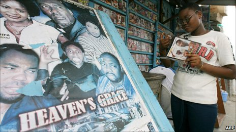 A stall in Ivory Coast with Nollywood films from Nigeria