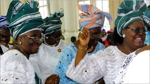 Nigerians photographed at an Anglican church