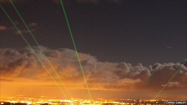 laser beams from Moel Famau