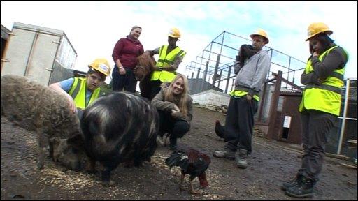 Kids help repair an animal shelter in Lancashire