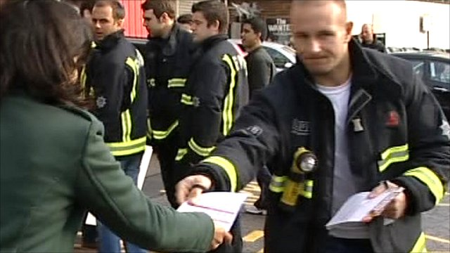 Fire unions leaflet the public