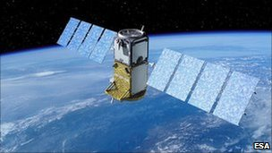 Artist&#039;s impression of Galileo satellite in orbit (Esa)