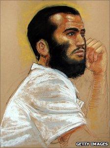Omar Khadr, shown in a courtroom at Guantanamo Bay