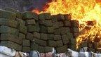 Bricks of marijuana burning, Tijuana