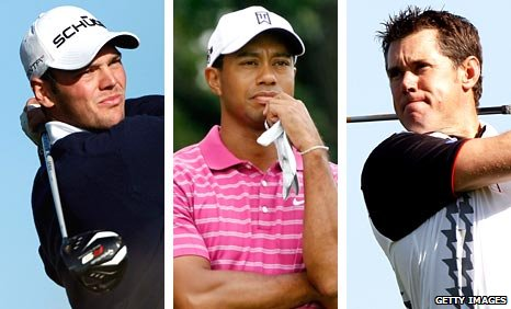 Martin Kaymer (left), Tiger Woods (centre) and Lee Westwood (right)