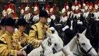 Mounted cavalry arrive to escort The Queen and Qatar's emir, Sheikh Hamad bin Khalifa al-Thani
