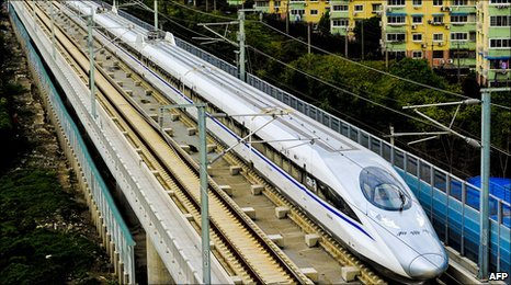 A Chinese high-speed train leaves the station in Shanghai