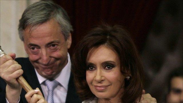 Former President Nestor Kirchner with his wife, President Crisitina Fernandez de Kirchner
