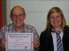 Allyson (right) poses proudly as her star pupil receives his certificate