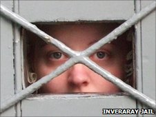 Close up person behind bars in Inveraray Jail