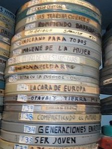 Film cans stored in Bolivia's national archive
