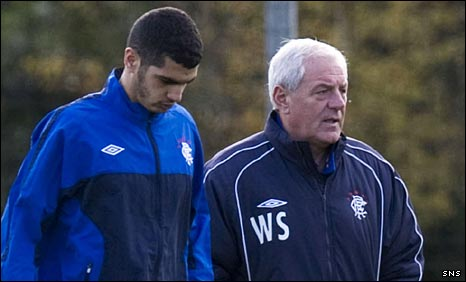 Salim Kerkar with Rangers boss Walter Smith
