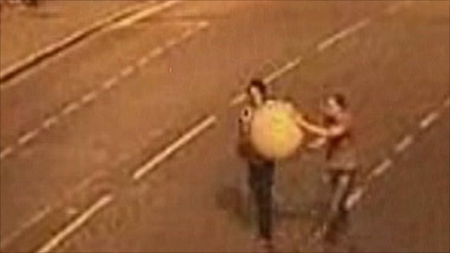 CCTV showing men with stolen globe