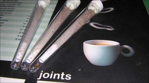 A menu of joints available in a Dutch coffee shop