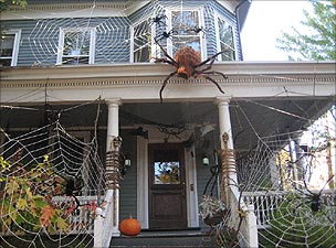 House adorned with spiders