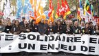 CGT labour union leader Bernard Thibault and CFDT labour union leader Francois Chereque among demonstrators in Paris