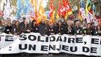 CGT labour union leader Bernard Thibault and CFDT labour union leader Francois Chereque among demonstrators in Paris